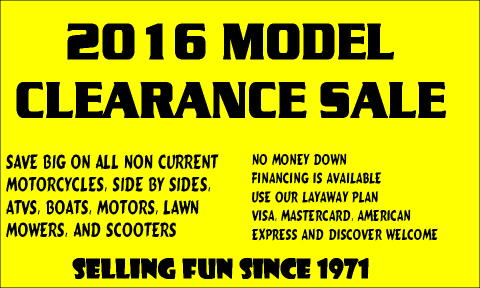 2016 CLEARANCE SALE